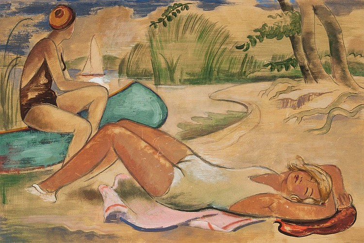 Jozsef Bato. Two Sunbathers, watercolor on paper