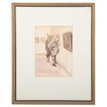 """Aaron Sopher. """"Museum No. 3,"""" ink & watercolor"""