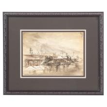 Aaron Sopher. Snow Dumping at the Dock, ink