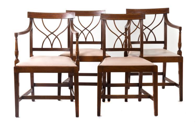 Four george iii style mahogany dining room chairs for Mahogany dining room chairs