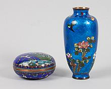Two Japanese Ginbari cloisonne enamel objects
