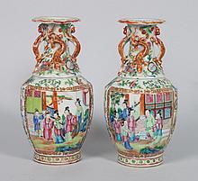 Pair of Chinese Export Rose Mandarin vases