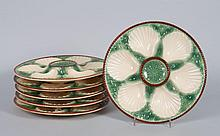 Six French ceramic oyster plates