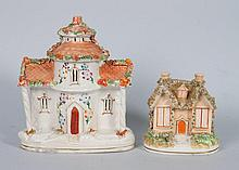 Two Staffordshire cottage-form pastille burners