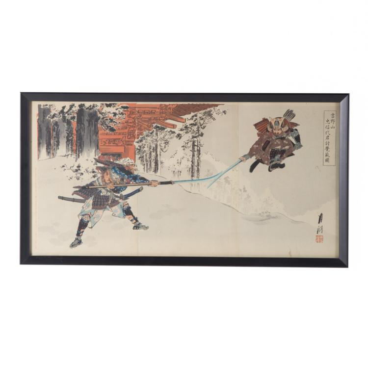 Japanese color woodblock triptych