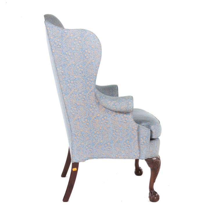 Chippendale style mahogany upholstered wing chair for Styles of upholstered chairs