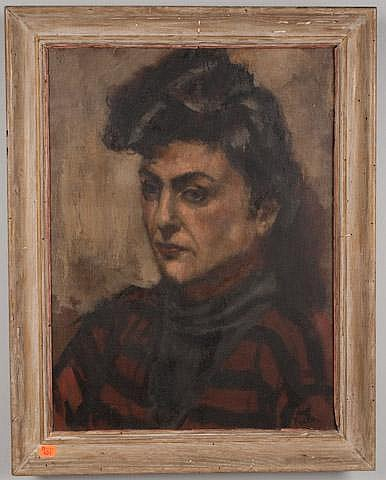 HAL FRATER.  PORTRAIT OF A WOMAN, OIL ON CANVAS