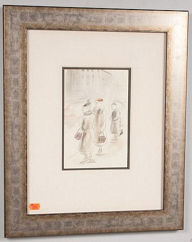 AARON SOPHER.  THREE LADIES, PEN AND INK WITH W/C