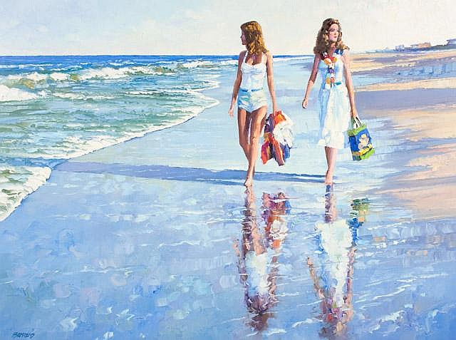 HOWARD BEHRENS.  GIRLS  ON BEACH, OIL ON CANVAS