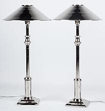 Pair of contemporary silvered metal lamps