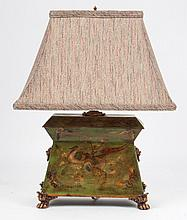 Victorian style toleware tea caddy lamp