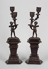 Pair of Rococo style figural candelabra