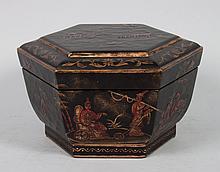 Chinoiserie style hexagonal dresser box