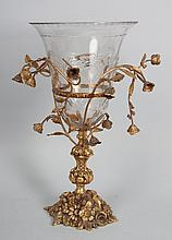 Victorian style gilt-metal and etched glass vase