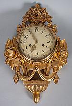 Rococo style giltwood wall clock