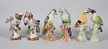Three pairs of china birds