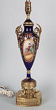 French blue du roi porcelain urn lamp
