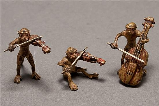 Louis Chatel Rosenthal (Russian/American, 1888-1964). Painted bronze miniature three-piece monkey string trio