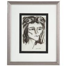 Aaron Sopher. Portrait of a Woman, ink