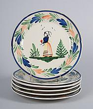 Six Hubaudiere Quimper luncheon plates