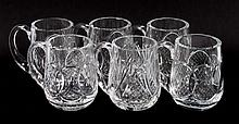 Six Waterford crystal mugs