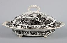 Ridgway black transfer china covered serving dish