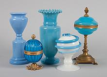 Five opalescent and art glass objects
