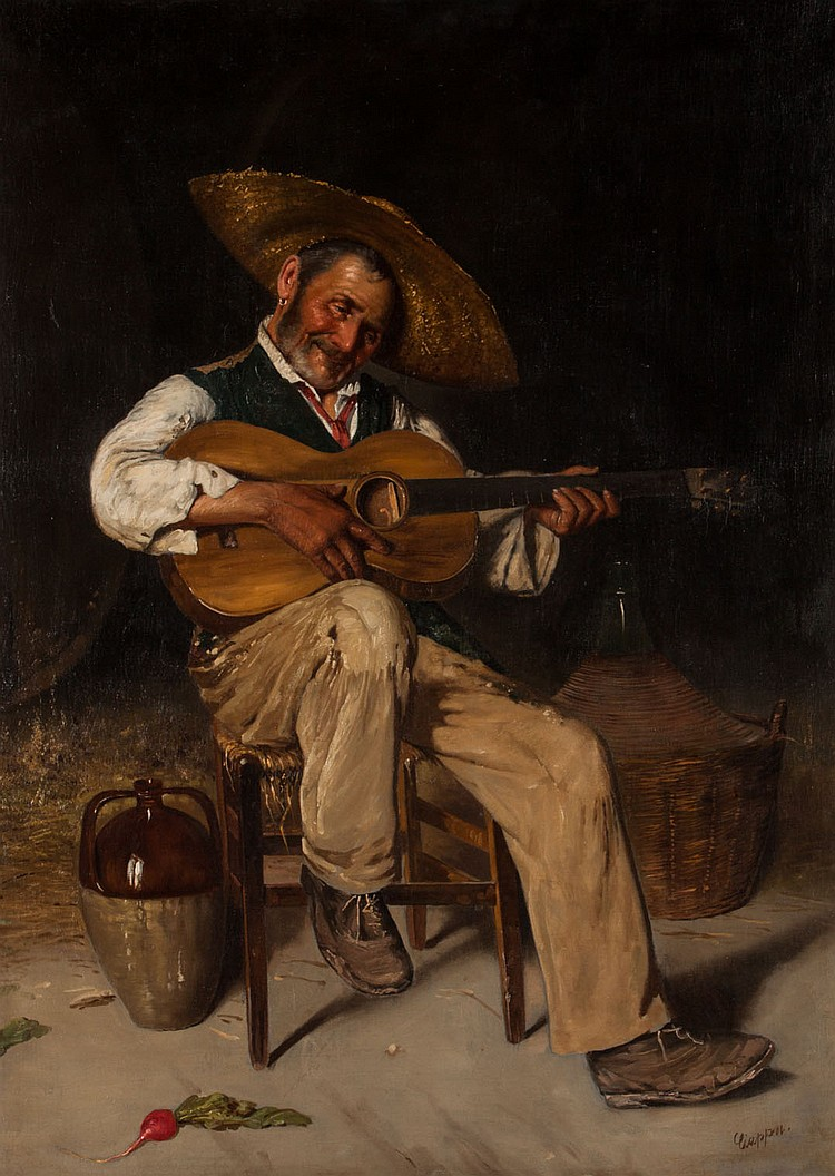 Federico Ciappa, Man Playing Guitar, oil on canvas