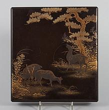 Japanese gilt decorated lacquered writing box