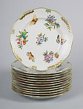 12 Herend porcelain luncheon plates