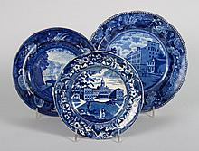 Three Staffordshire blue transferware plates