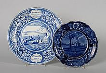 Two Staffordshire blue transferware plates