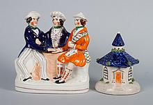 Staffordshire figural group & pastille burner