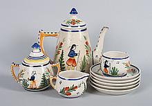 Hubaudiere Quimper faience assembled tea set