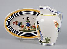 Henriot Quimper faience jug and small platter