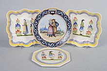 Four Henriot Quimper faience objects