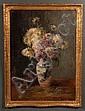 Johanna von Destouches, German, 1869-1956, Still Life with Flowers in Chinese Vase, oil on board, 28 1/2 x 20 1/4 in., framed, Johanna