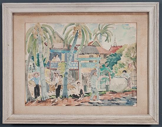 Alice Stanley Acheson, American, b. 1895, Village Life, watercolor on paper, 14 1/2 x 19 1/4 in., framed