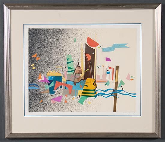 Yankel Ginsburg, American, b. 1945, Washington Capital, color screenprint and collage, ed. 37/250, 13 3/4 x 18 in., framed
