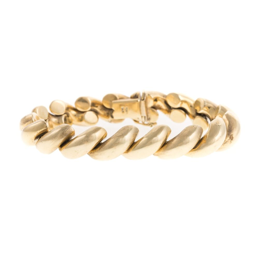 A Ladies Italian San Marco Bracelet in 14K