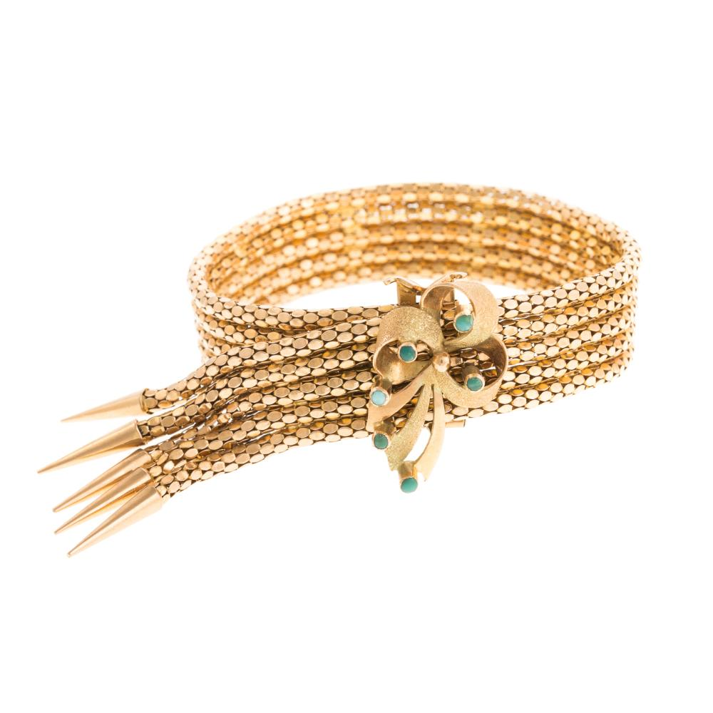 A Ladies Vintage Tassel Bracelet in 18K Gold