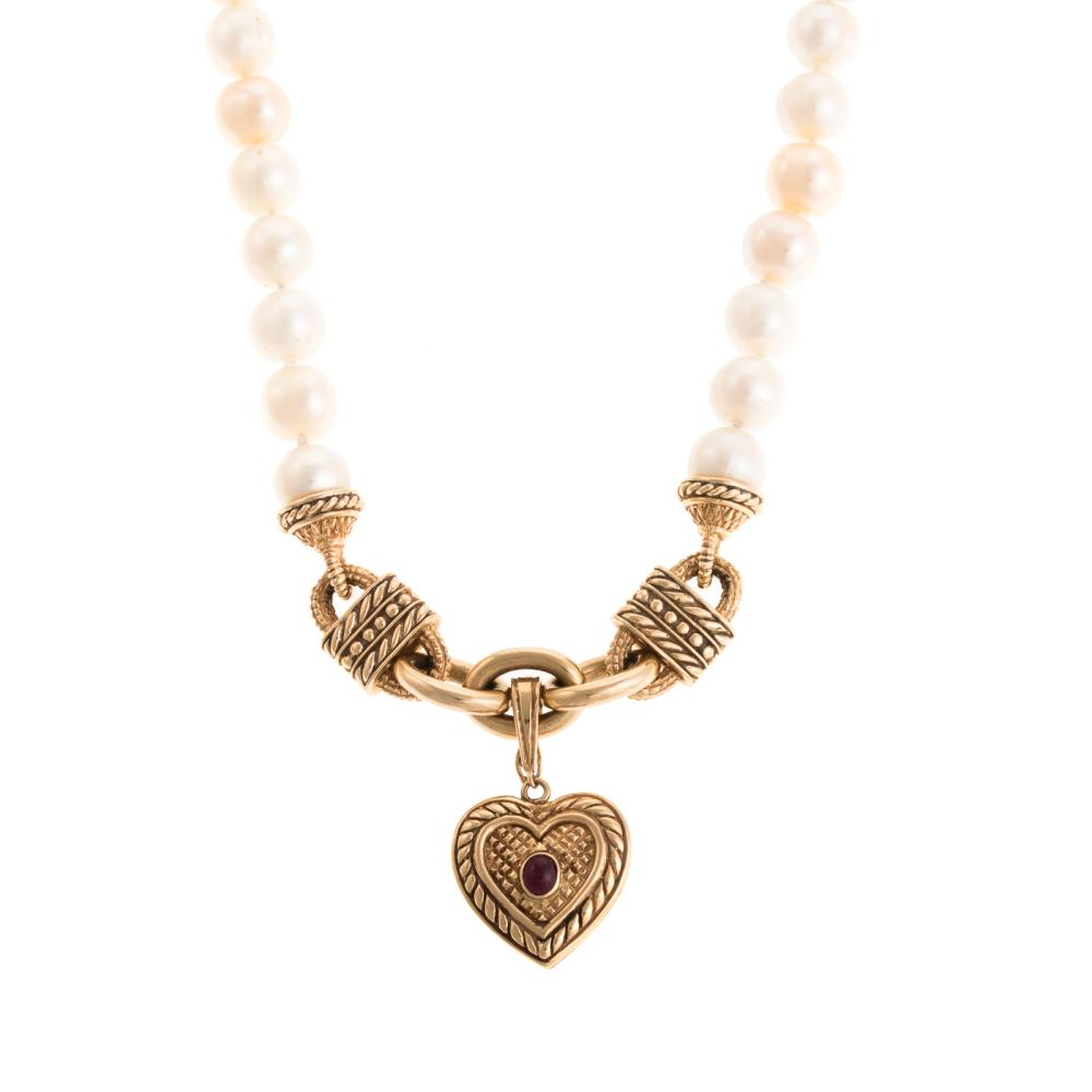 A Ladies Pearl & 18K Link Necklace with Heart