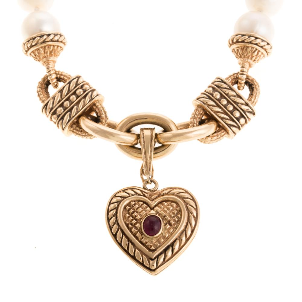 Lot 102: A Ladies Pearl & 18K Link Necklace with Heart