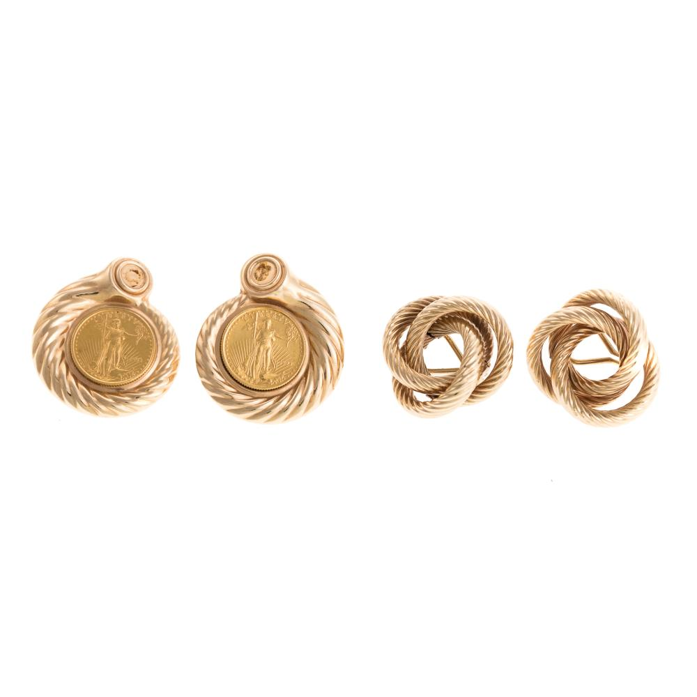 Two Pairs of Ladies 14K Yellow Gold Earrings