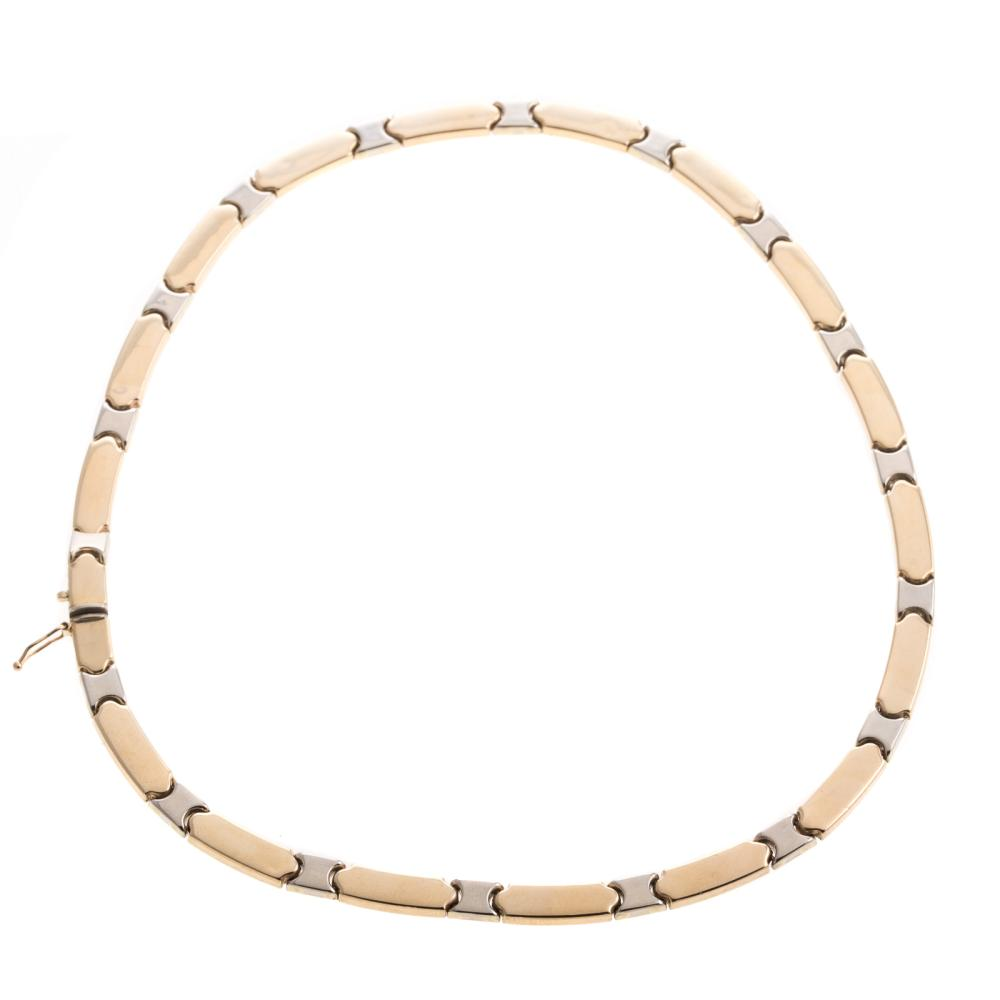 A Ladies 14K Two Toned Link Necklace