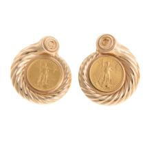 Lot 108: Two Pairs of Ladies 14K Yellow Gold Earrings