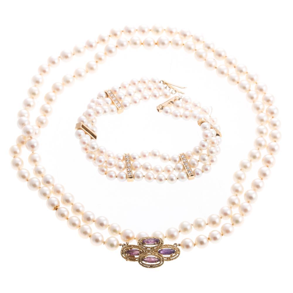 Lot 114: A Pearl & Diamond Bracelet & Strand of Pearls