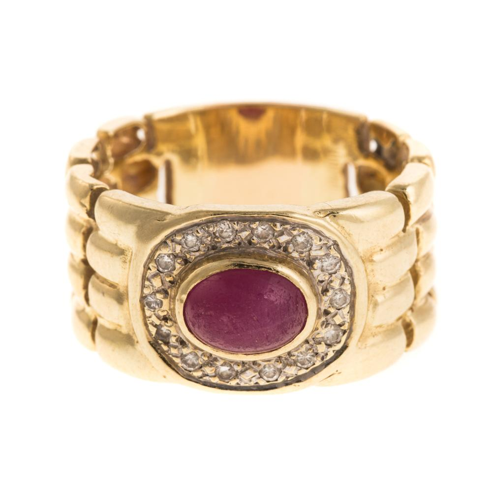 A Diamond & Cabochon Ruby Wide Ring in 14K