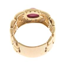 Lot 111: A Diamond & Cabochon Ruby Wide Ring in 14K