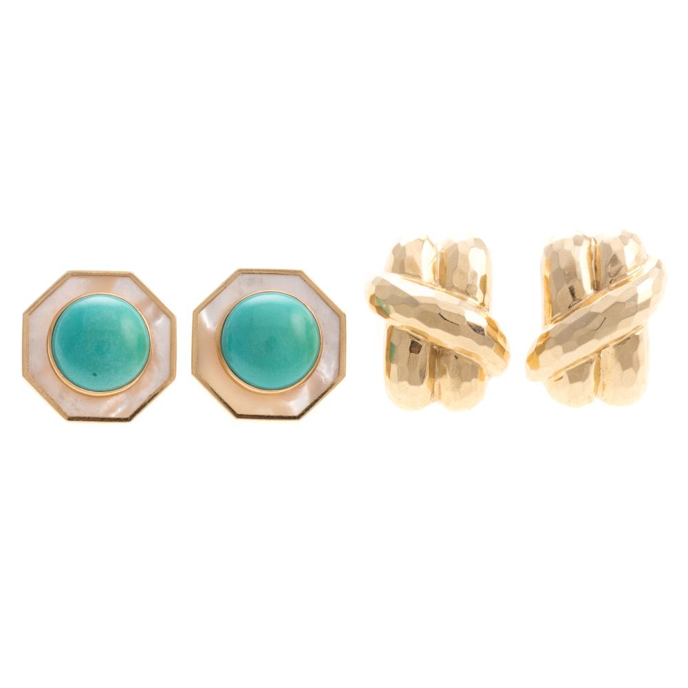 Two Pairs of Ladies Earrings in 14K